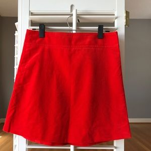 J. Crew Red Corduroy Mini Skirt with Gold Accents
